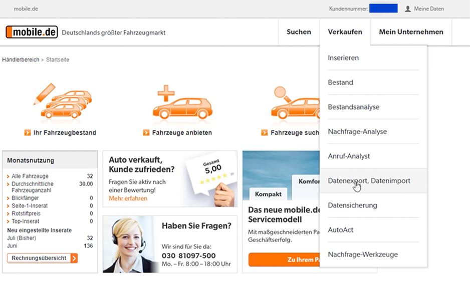 mobile.de Integration - Schritt 1
