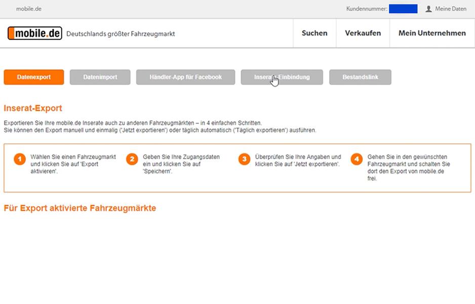 mobile.de Integration - Schritt 2