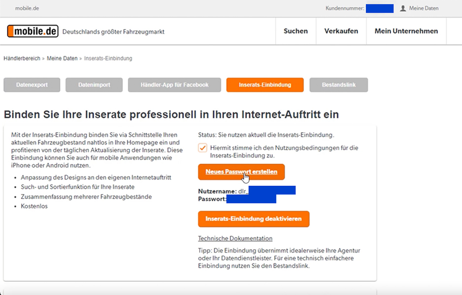 mobile.de Integration - Schritt 3