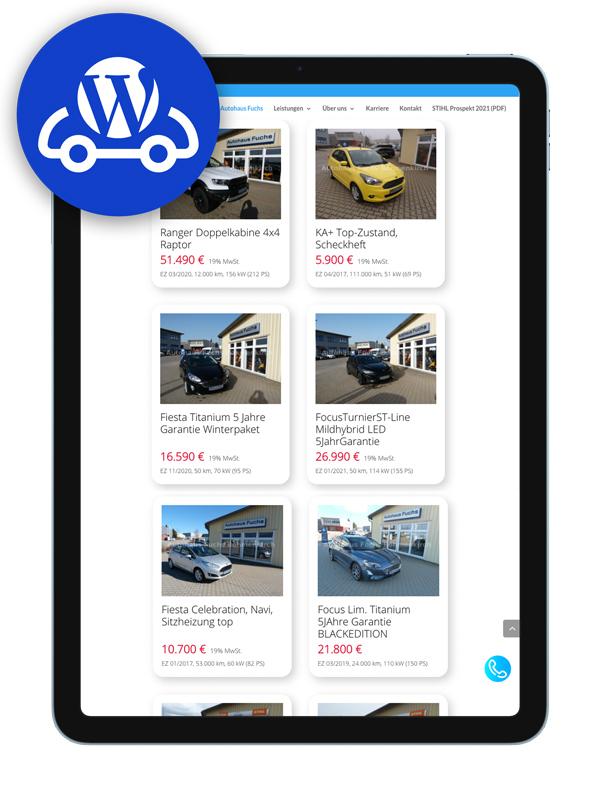 mobile.de WordPress plugin iPad